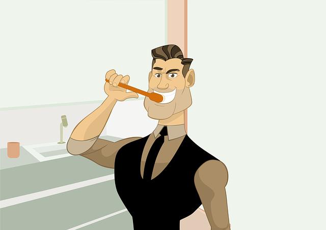 muž při čištění zubů